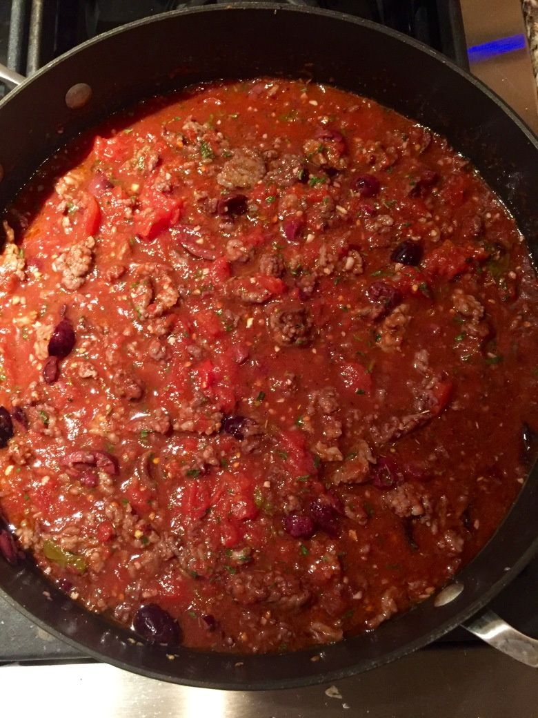 Sauce before starchy water and pasta