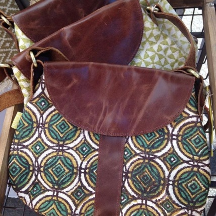 Block Printed Leather Satchel- Redemption Market
