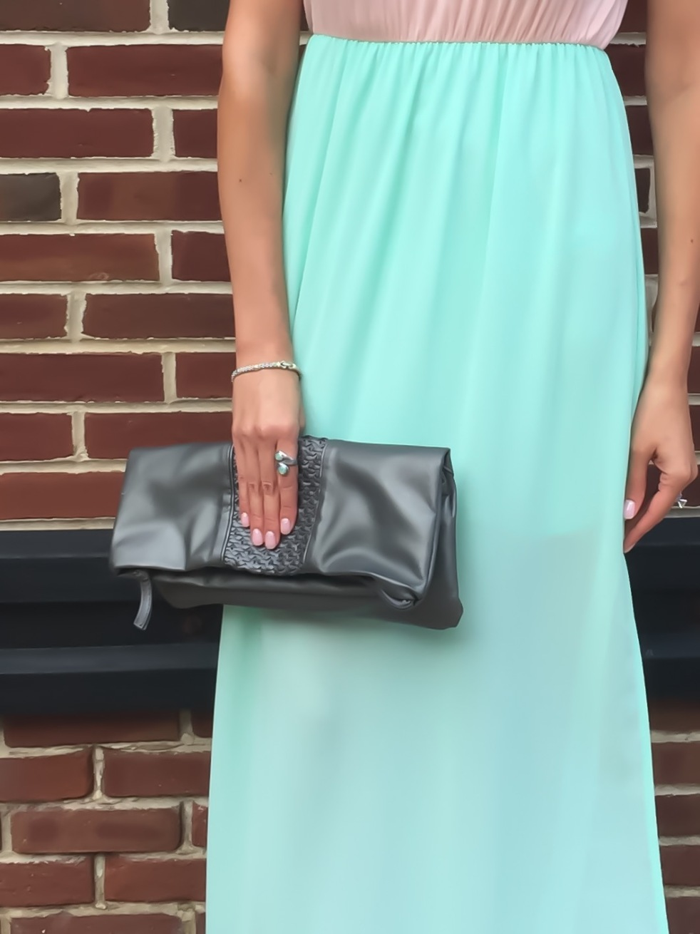 Compendium Boutique Peach and Mint Maxi Dress and Steve Madden Foldover Clutch